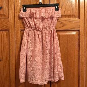 Pink Tube Top Ruffle Dress